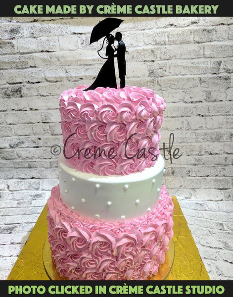 Pink Rose theme wedding cake - cremecastle