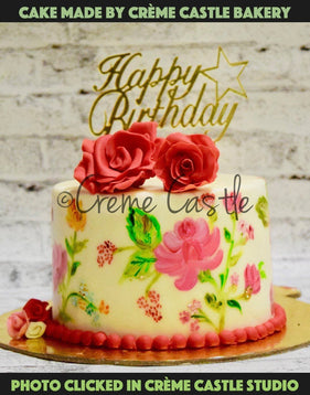 Hand painted floral cake 1 - cremecastle