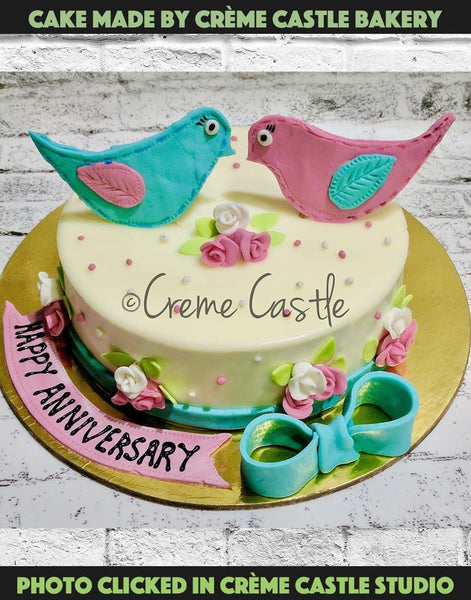 Bird love floral cake - cremecastle