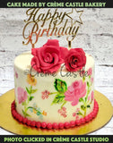Hand painted floral cake 2 - cremecastle