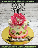 Hand painted floral cake 3 - cremecastle