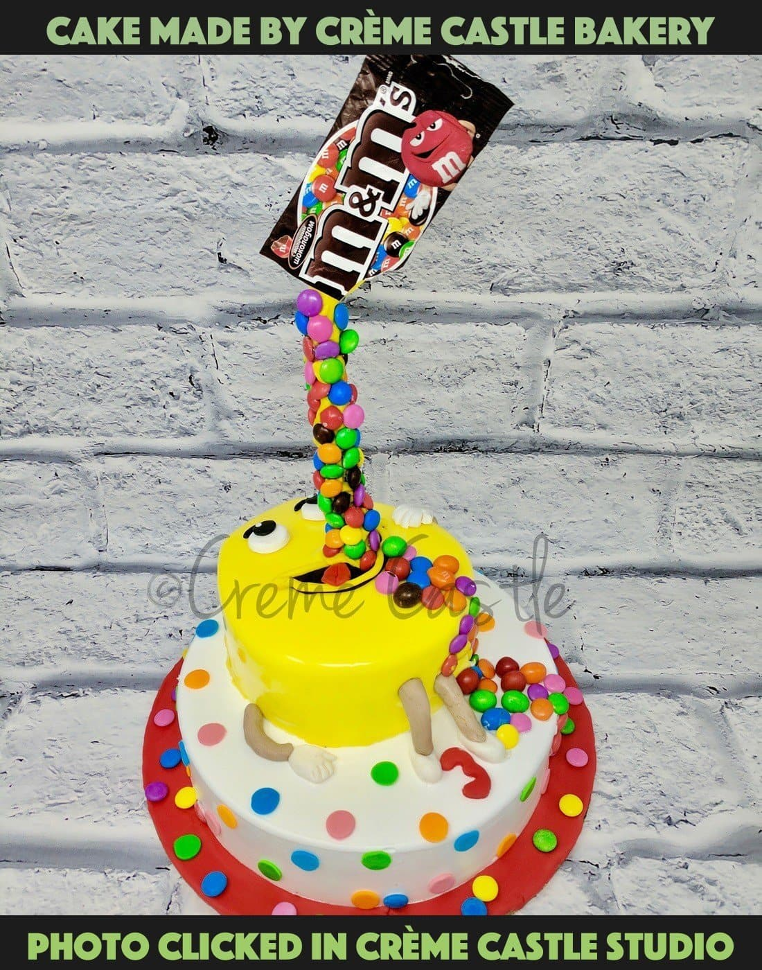 M&M Free Fall Cake - cremecastle