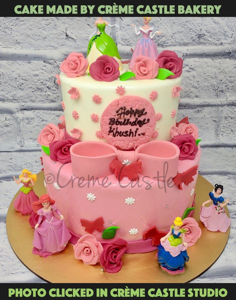 Pink Princess Theme Cake - cremecastle