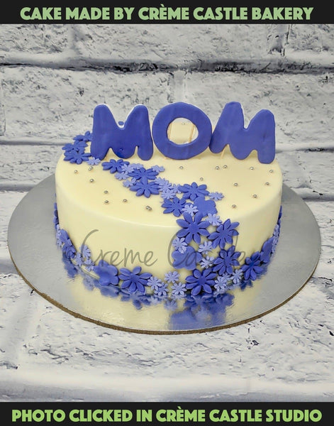 Purple Theme Mom Cake - cremecastle
