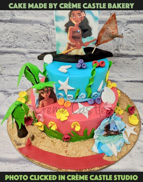 Moana Theme Cartoon Cake - cremecastle