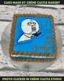 A cake in blue base, with a troll saying why you no get younger.