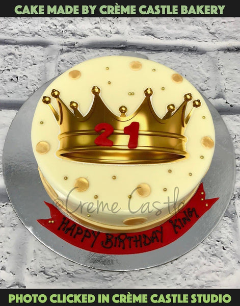 Crown 21 Birthday Cake - cremecastle