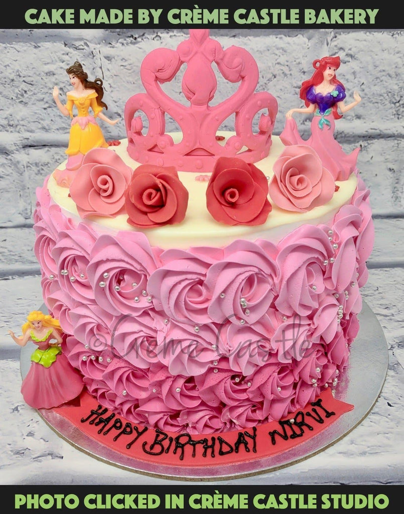 Excellent Birthday Cake For Daughter Rose And Tiara Theme Creme Castle Funny Birthday Cards Online Amentibdeldamsfinfo