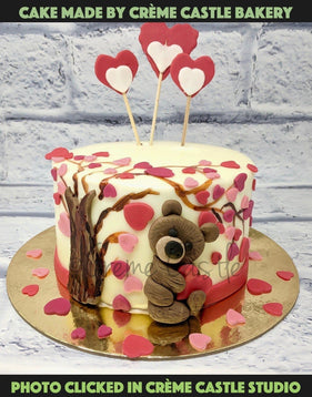 Teddy And Hearts Theme Cake - cremecastle