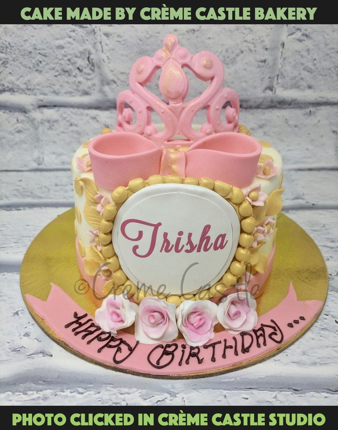 A  cake for your daughters in pink base beautifully decorated with ribbons, stars, and a tiara. Daughters deserve the best and this cake is perfect for them.