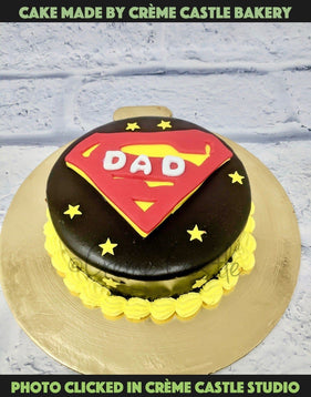 Chocolate is always the key ingredient if you wish to surprise someone on their special day. And if it is about your daddy, nothing can beat the magic of this mesmerizing flavour. Rich in cocoa, each slice of this cake is pure heaven and can simply entice his taste buds impeccably. Super dad theme cake shaped in the form of superman logo with dad written in it .