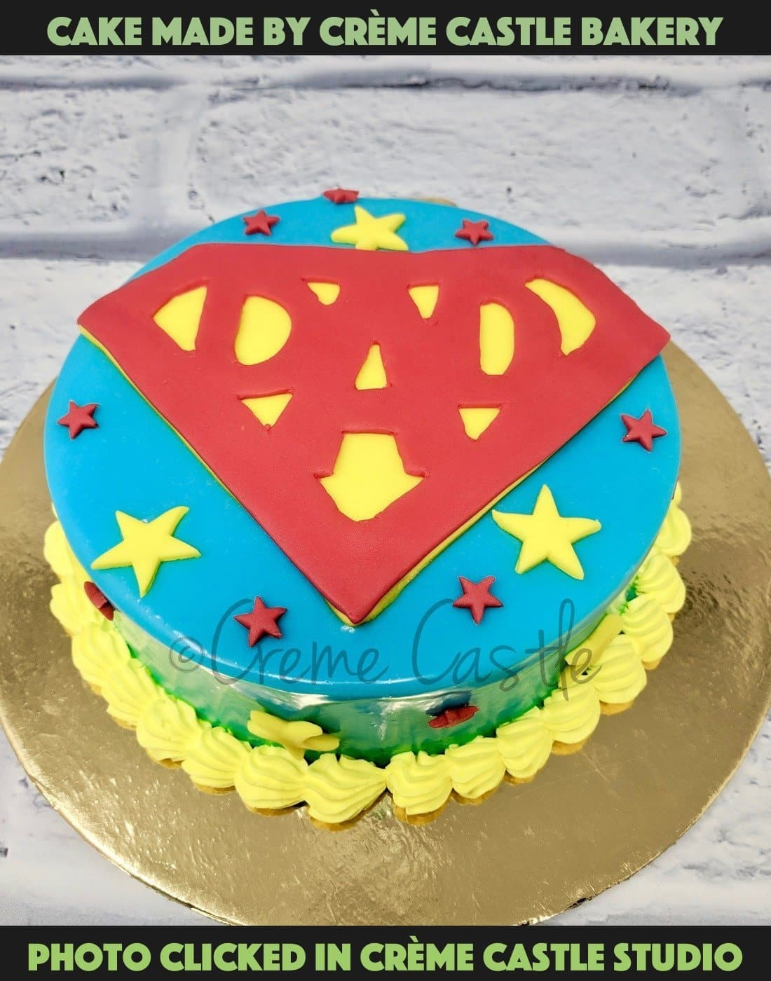 Chocolate is always the key ingredient if you wish to surprise someone on their special day. And if it is about your daddy, nothing can beat the magic of this mesmerizing flavour. Rich in cocoa, each slice of this cake is pure heaven and can simply entice his taste buds impeccably.. Super dad theme cake shaped in the form of superman logo with dad written in it .