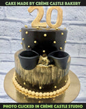 Black and Golden Cake - cremecastle