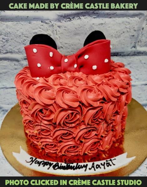 A cake for a sweet little girl who loves pink color. Topped with bow