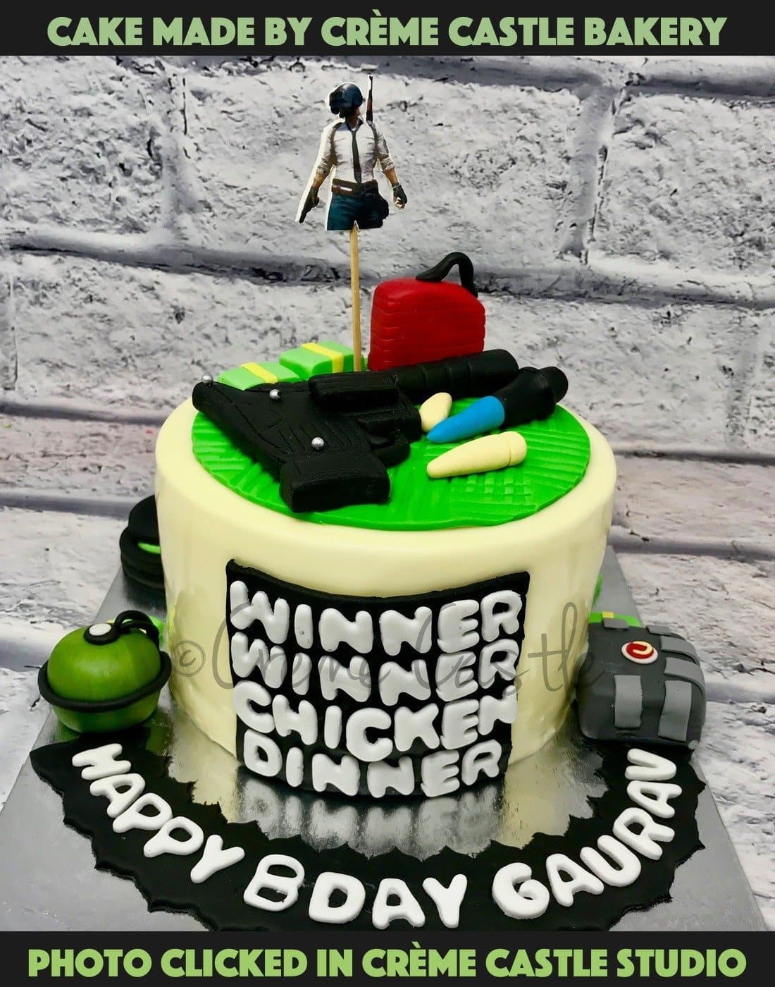 A Classic Pubg Theme Cake With Its Famous Elements On Top Of The Cake And Who Can Forget Winner Winner Chicken Dinner