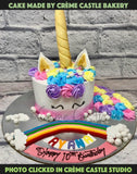 A Cake For Unicorn Lover. Rainbow Colored Ears And Roses With A Beautiful Golden Horn To Grace The Cake