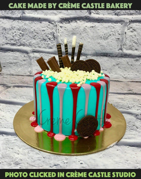 Blue Shades Drip Cake - cremecastle