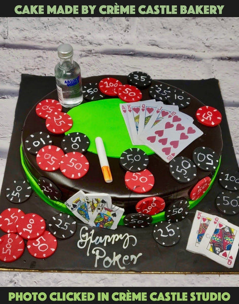 A Cake For A Gentleman Who Loves To Flaunt His Moustache, Loves His Cigars And Is Completely Into Poker. You Don't Play The Cards, You Play The Man!  The Alcohol Is Provided By The Client. In No Way We Deal In Alcohol And Involved In Any Transaction.