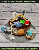 A Cake For Someone Who Loves To Travel With Passport And Bags On Top And All The Famous Places Which Are Everyone's Travel Goals