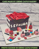 A Cake In The Form Of A Shopping Bag With Fashion Elements On The Base.