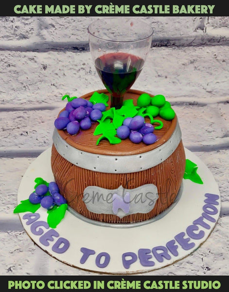 Life Is Like Wine In A Barrel. Slowly Making It More Special Day After Day. Here Is A Cake To Make The Celebration A Special One. And As The Cake Says It, Yes, This Is For The One Who Has Aged To Perfection! An Empty Glass Will Be Provided Which You Can Fill With Anything You Like!