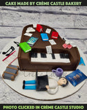A Cake for someone who plays piano and loves to travel.
