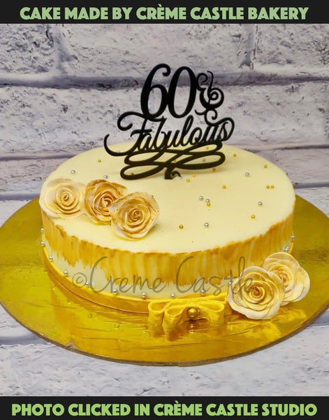 Golden Floral Cake - cremecastle