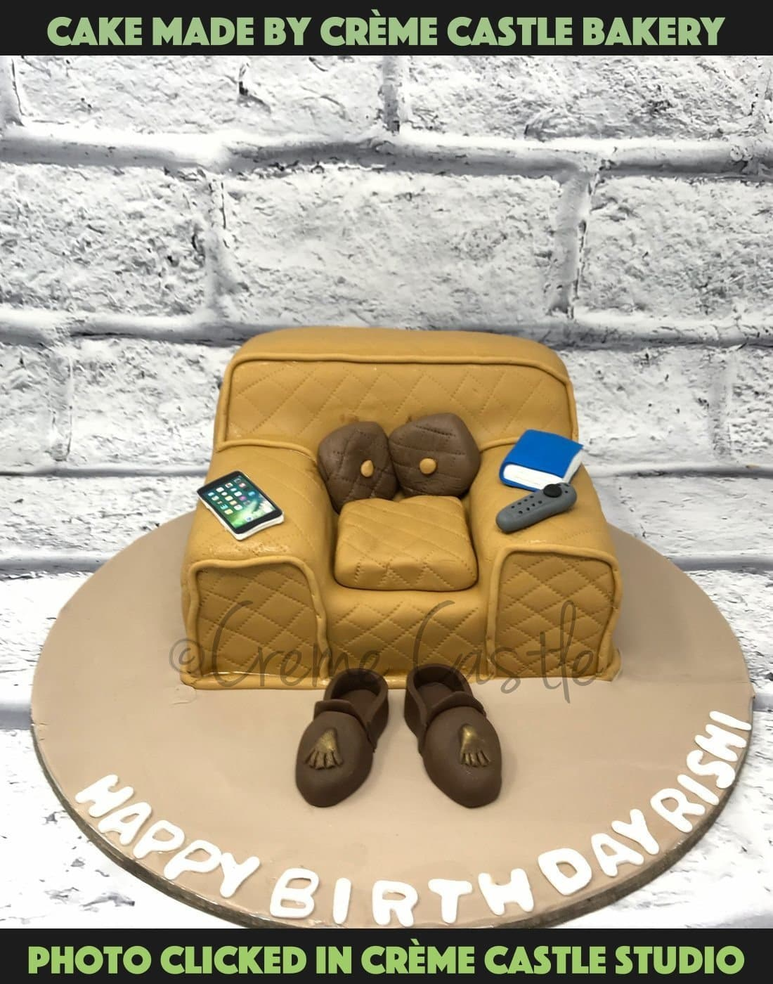 A cake for someone who loves to chill with his phones, books and TV