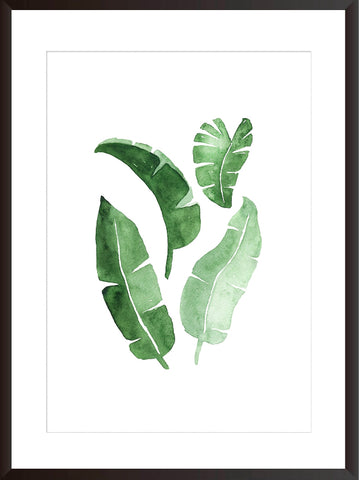 Watercolour leaves botanical art print