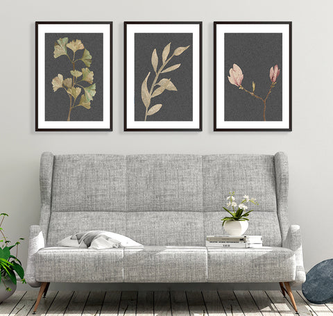 framed vintage botanical print sets