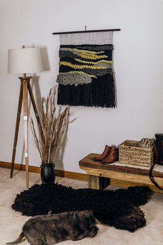 Handmade large macrame weave wall hanging black chartreuse by Moss Hound Designs