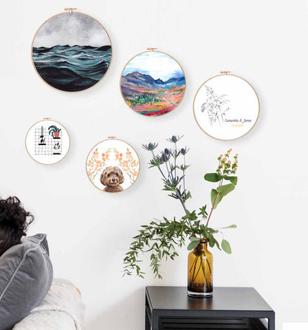 Canvas Hoop Gifts by Mode Prints wooden watercolour painting prints