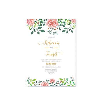 Floral Pink Rose Wedding Invitation-Wedding Stationary-Mode Prints