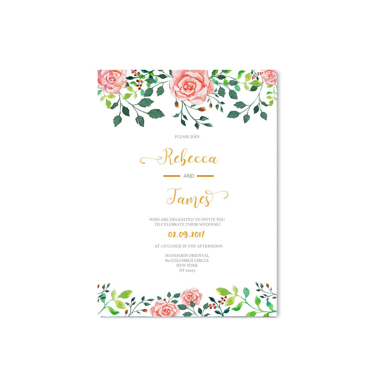 Floral Pink Rose Wedding Invitation - Mode Prints
