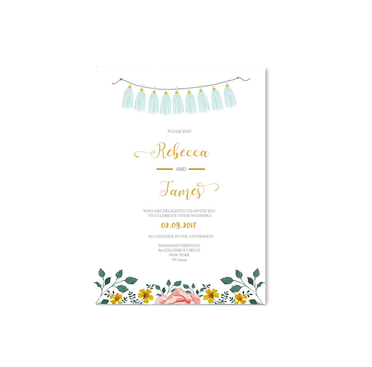 Blue Tassels and Flowers Wedding Invitation - Mode Prints