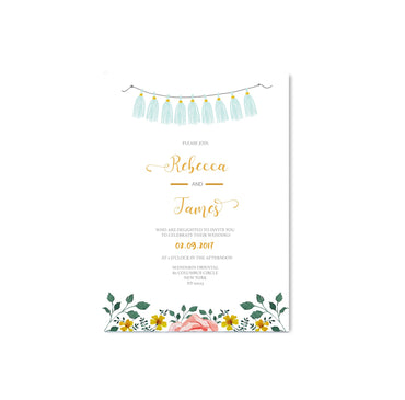 Blue Tassels and Flowers Wedding Invitation-Wedding Stationary-Mode Prints