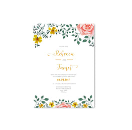 Floral Border Gold Wedding Invitation - Mode Prints