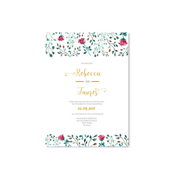 English Garden Rose Flowers Wedding Invitation - Mode Prints