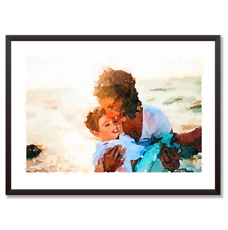 For Mum Custom Watercolour Portrait Personalised Print - Mode Prints
