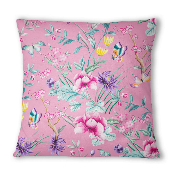 Japanese Leaf Baby Pink Cushion - Mode Prints