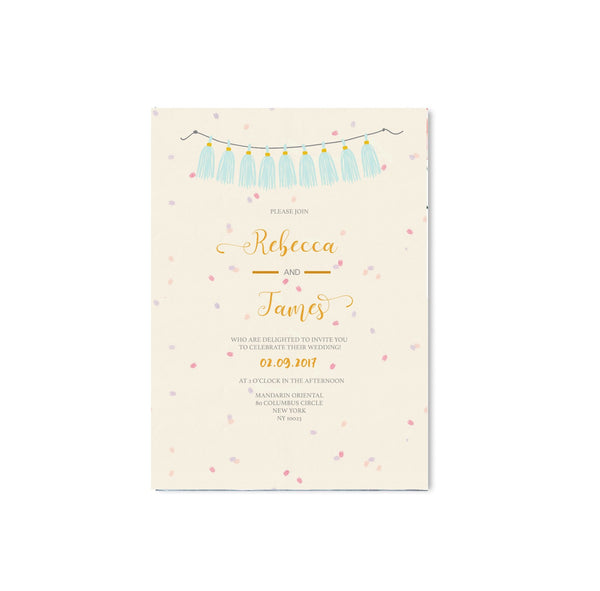 Cream Confetti and Flowers Wedding Invitation - Mode Prints
