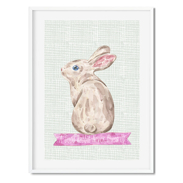 A Good Rabbit Never Gives Up Wall Art Print - Mode Prints
