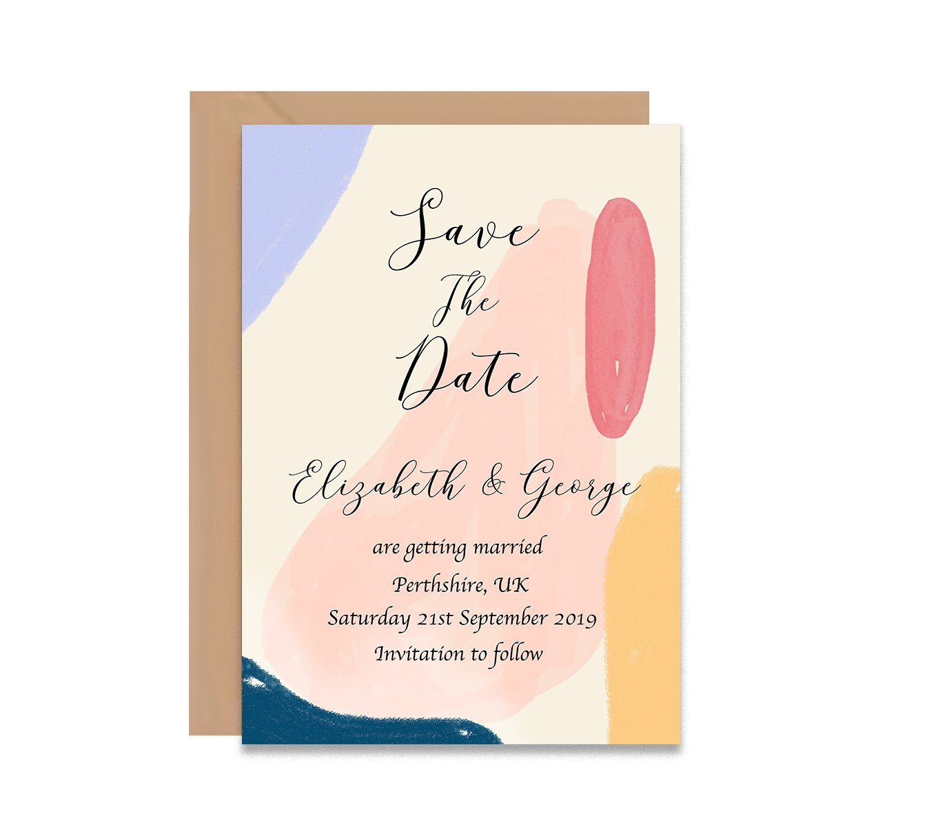 Abstract 2 Save The Dates Wedding Card-Wedding Stationary-Mode Prints