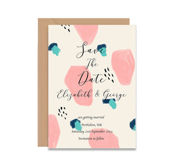 Abstract 4 Save The Dates Wedding Card-Wedding Stationary-Mode Prints