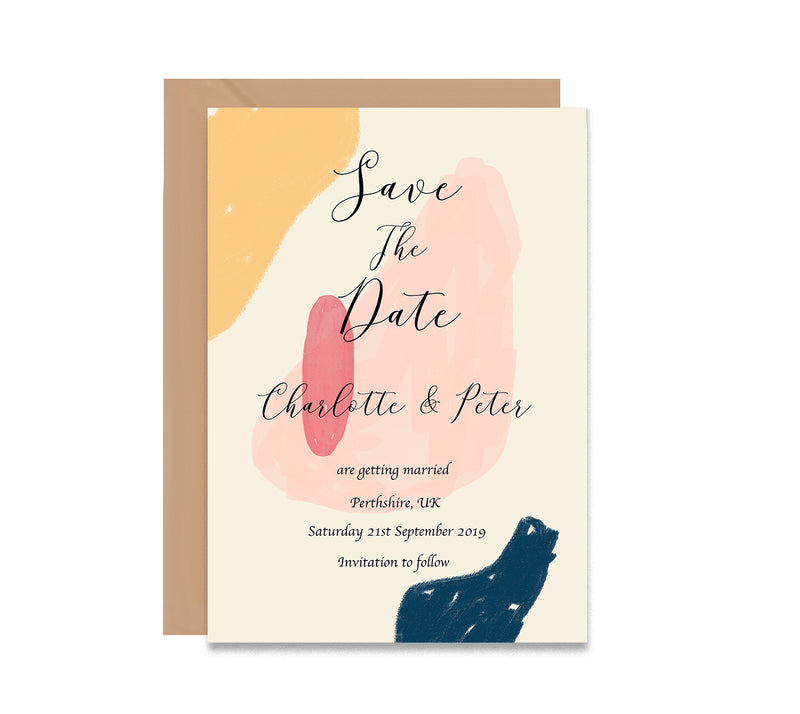 Abstract 5 Save The Dates Wedding Card - Mode Prints