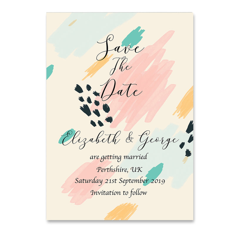 Abstract Save The Dates Wedding Card - Mode Prints