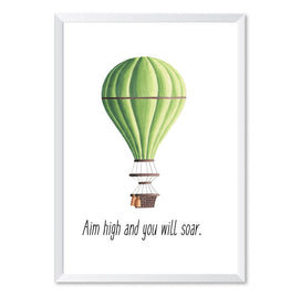 Hot Air Balloon Aim High Poster Print