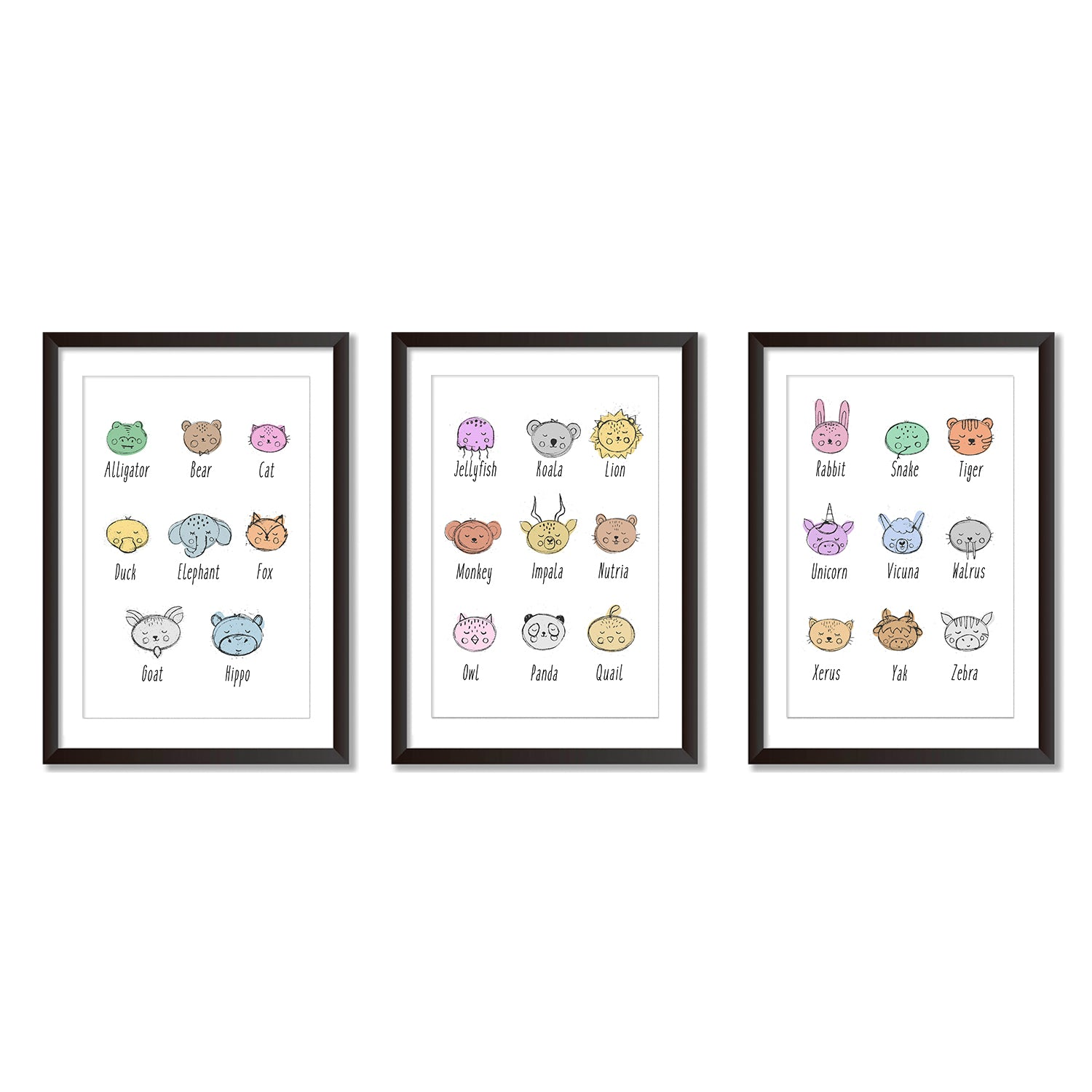 Alphabet Illustrations Set Of Three Poster Prints