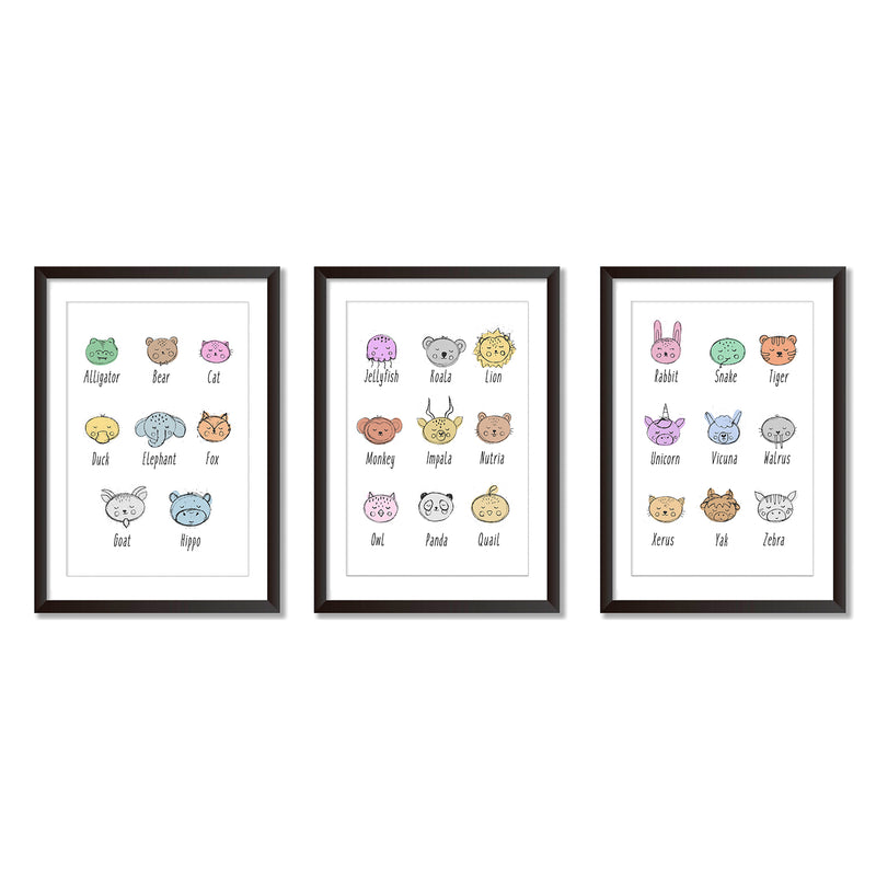 Alphabet Illustrations Set Of Three Wall Art Prints - Mode Prints