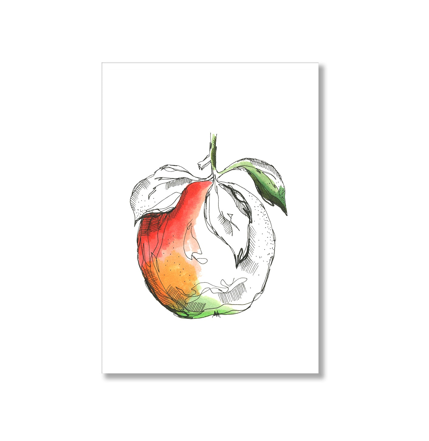 Apple Watercolour Poster Print-Print-Mode Prints